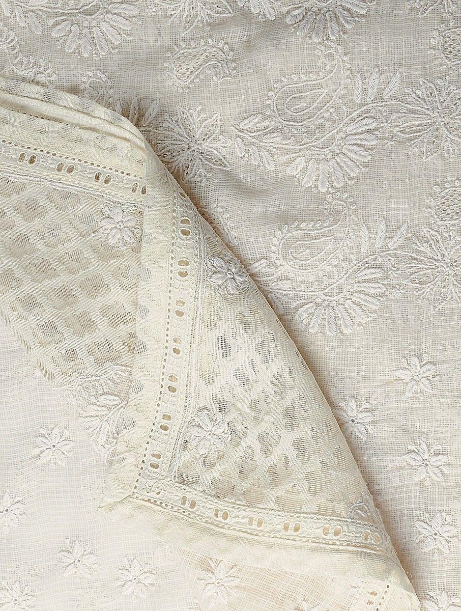 3ba1937a Buy Ivory Kota Doria Cotton Chikankari Embroidered Dupatta Online at  Jaypore.com