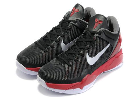 uk availability f6608 b9282 Nike Zoom Kobe 7 Black Varsity Red White,The upper was covered by black  color with a white nike swoosh and outsole, while a red midsole and a ankle  collar ...
