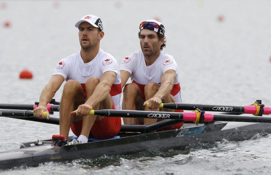 Canada's Douglas Vandor and Morgan Jarvis row in the men's lightweight double sculls repechage at Eton Dorney.