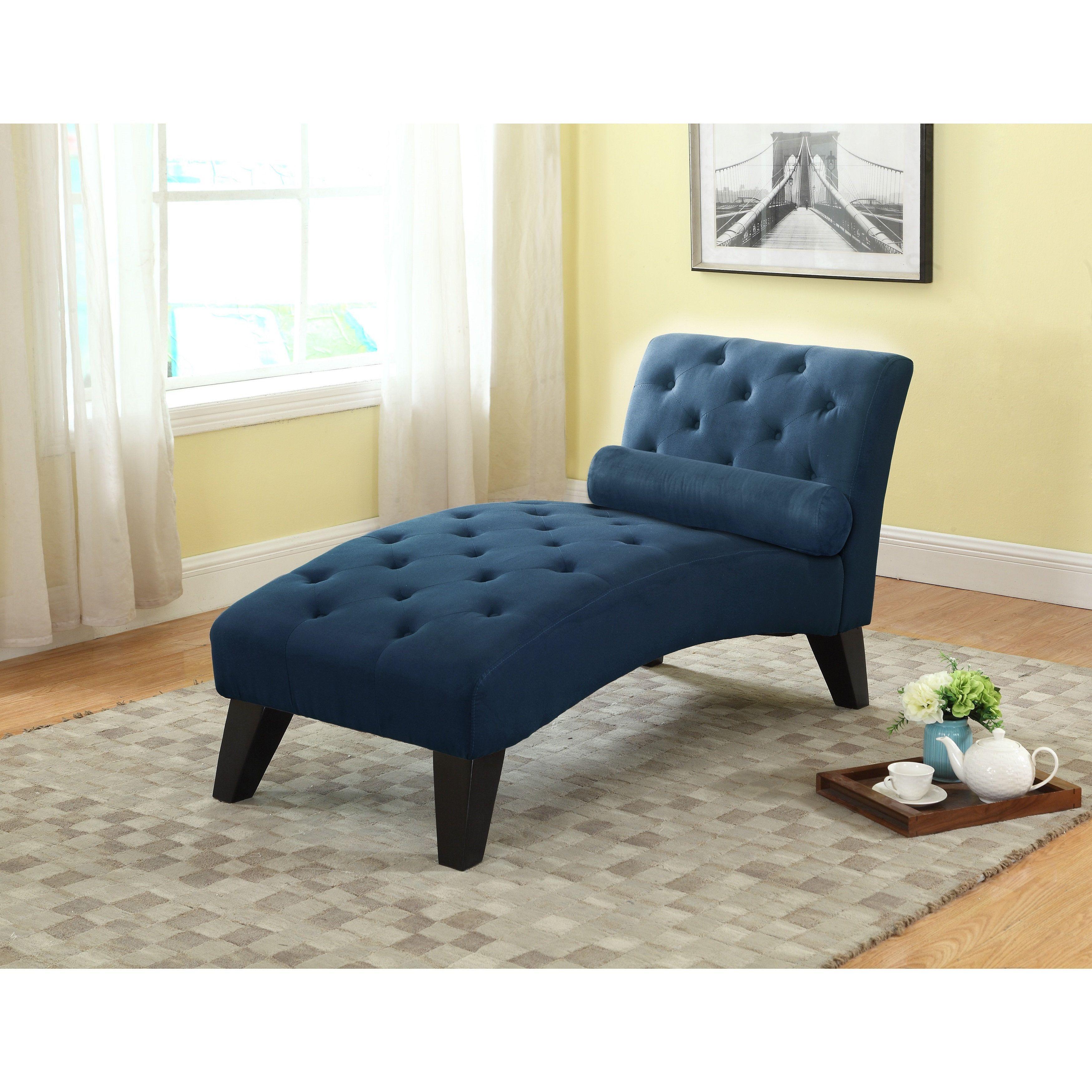 Nathaniel home mila tufted blue microfiber chaise lounge mila blue