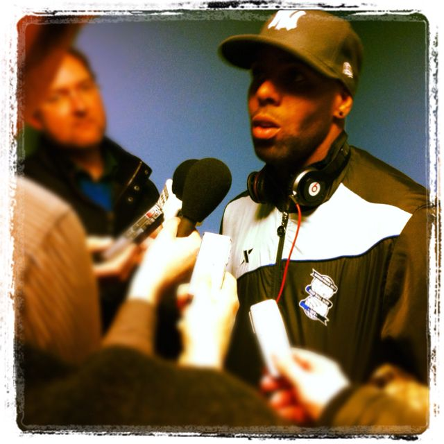 Marlon King talking to journalists after the 1-1 draw at Coventry City.  March 2012.