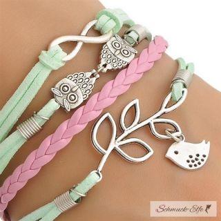 Armband Euly mit Vögelchen mint & rosa  im Organza Beutel