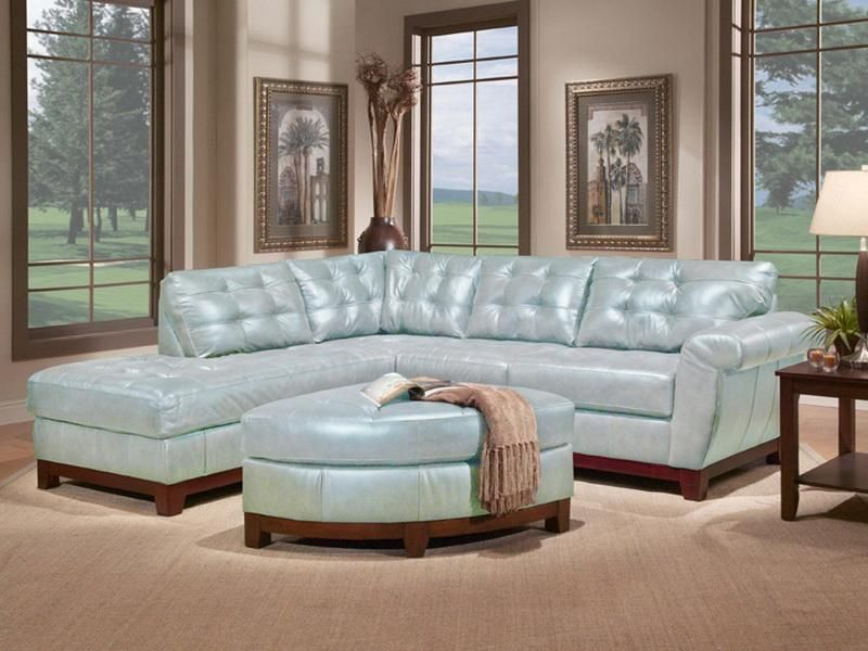 Light Blue Tufted Sectional Pastel Color