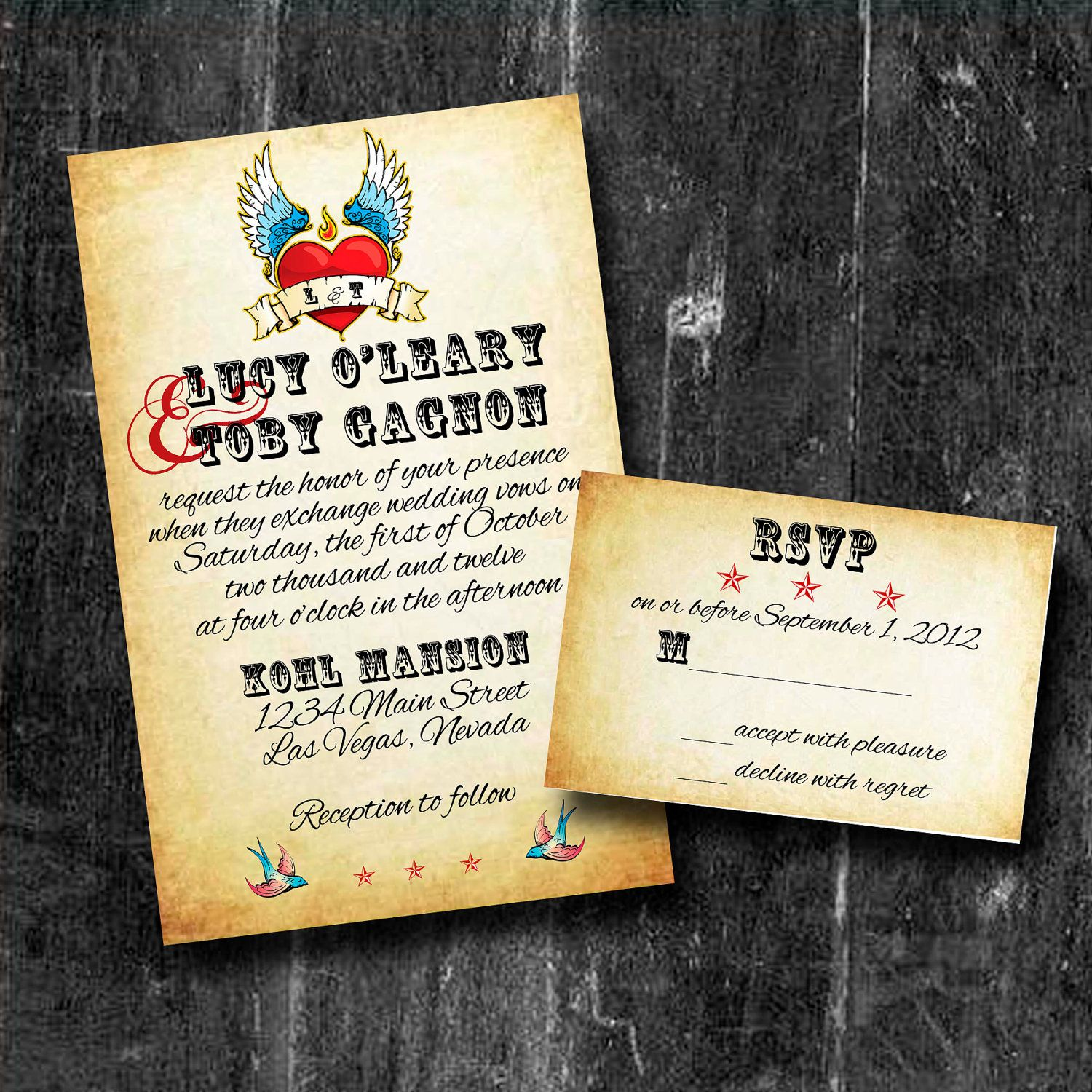 Customized Vintage Rock N Roll Wedding Invitation With Rsvp Free Shipping 99