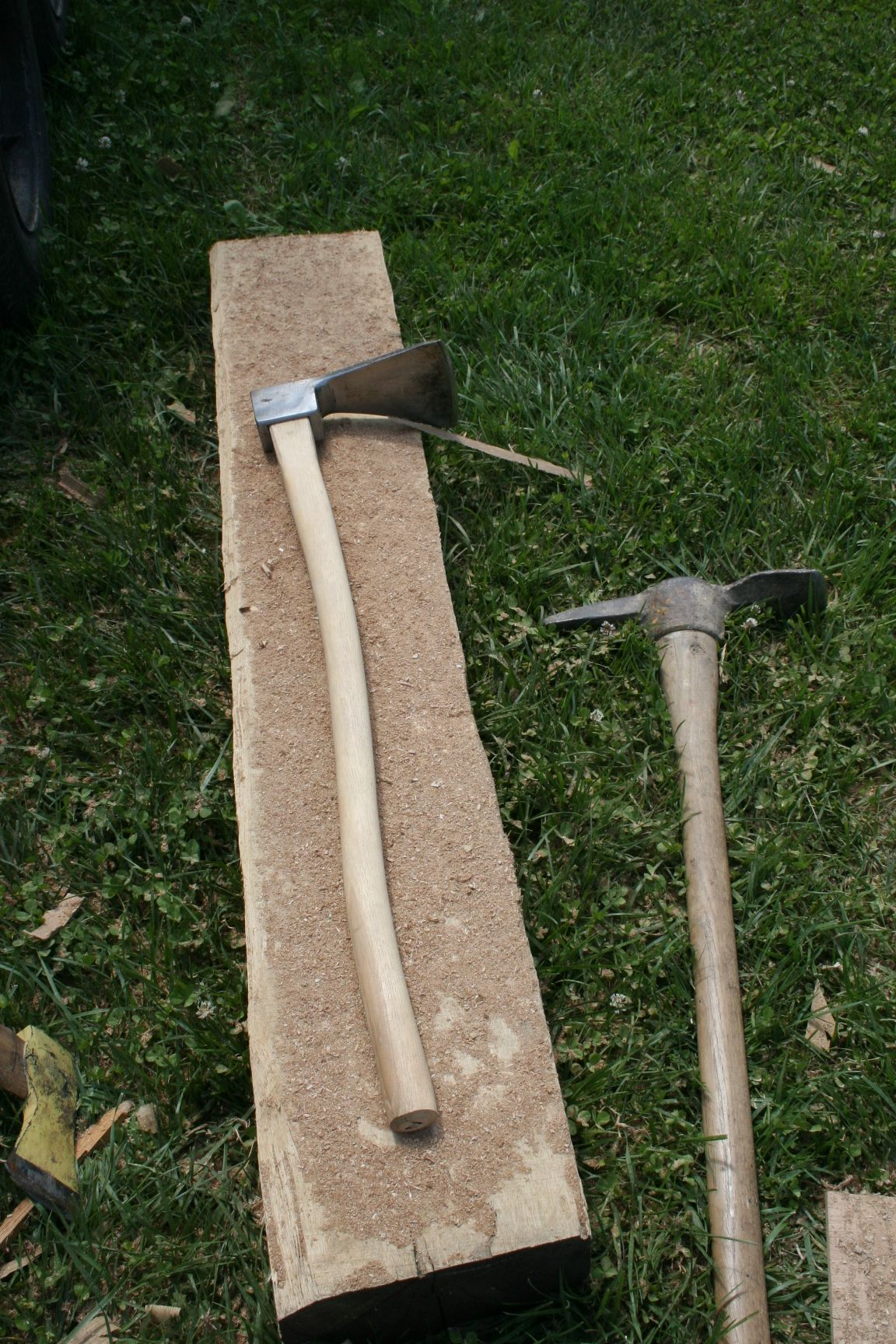 Tools of the trade when restorating hand hewn logs in a