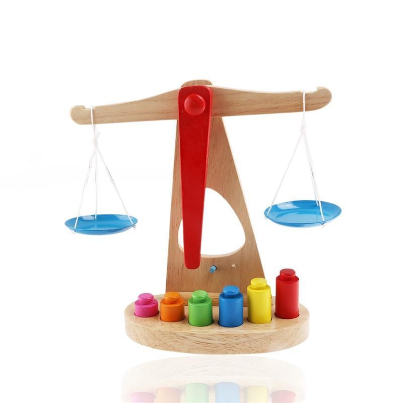 c68c36234dfc Funny Wooden Balance Scale Children Educational Toy with 6 ...