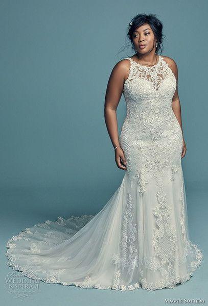 Elegant Lace Applique Plus Size Wedding Dresses Mermaid Sleeveless Sweep Train Bridal Gowns Summ Plus Wedding Dresses Bridal Gowns Mermaid Fitted Wedding Dress