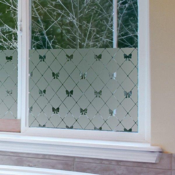 sticker pour vitre effet verre d poli avec joli motif d cor de petits rubans fen tre. Black Bedroom Furniture Sets. Home Design Ideas