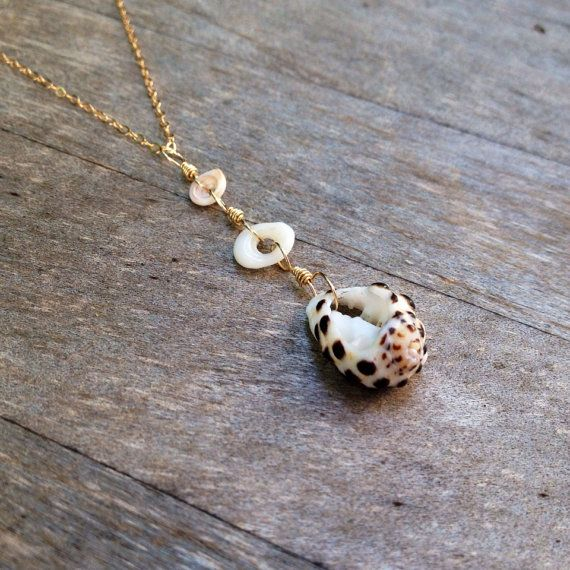 Spotted Drupe Gold Necklace,Puka Conch Gold Pendant,Boho Dangle Gold Pendant,Gold Fill Wire Shell,Handmade Hawaiian Shell Jewelry,White Puka on Etsy, $14.00