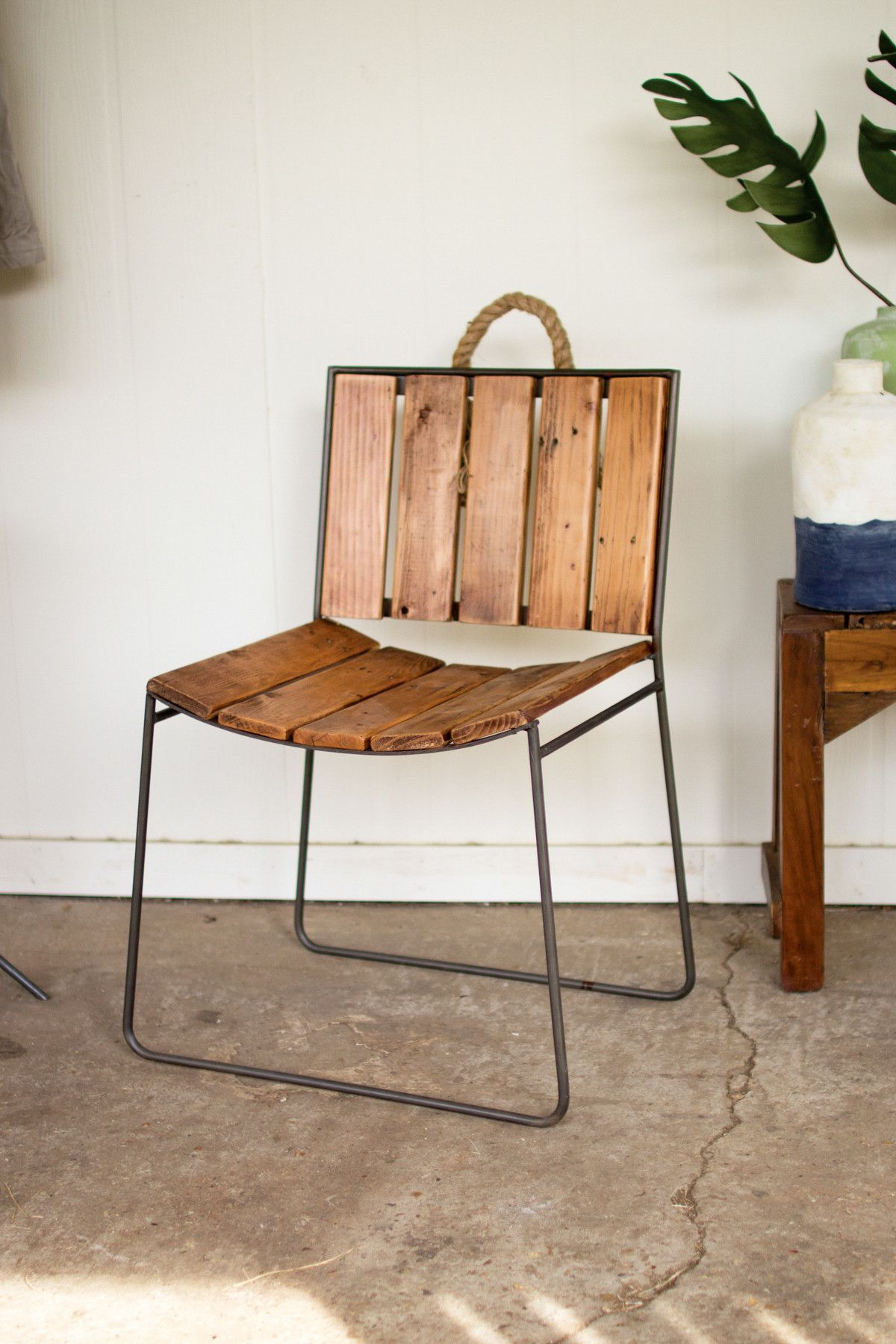 Metal And Recycled Slatted Wood Chair With Rope Handle
