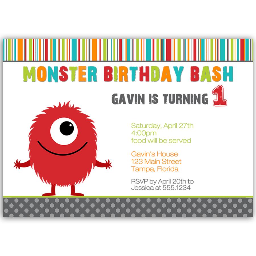 Monster Bash Boy Birthday Party Invitation | Boy birthday, Monsters ...