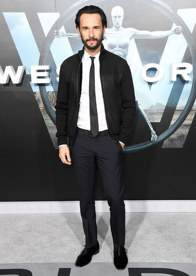 Rodrigo Santoro wearing Black Bomber Jacket, White Dress ...
