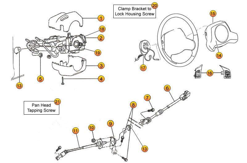 Steering Column Parts for Wrangler TJ & Wrangler Unlimited