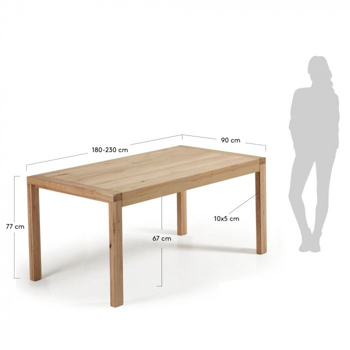 Table extensible Briva 180 (230) x 90 cm naturelle Kave