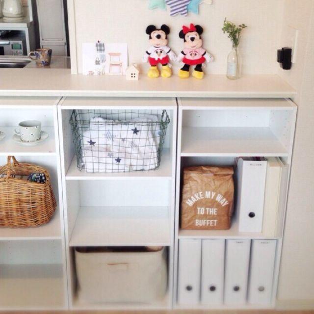 棚 ニトリ カラーボックス 収納 ディズニー などのインテリア実例