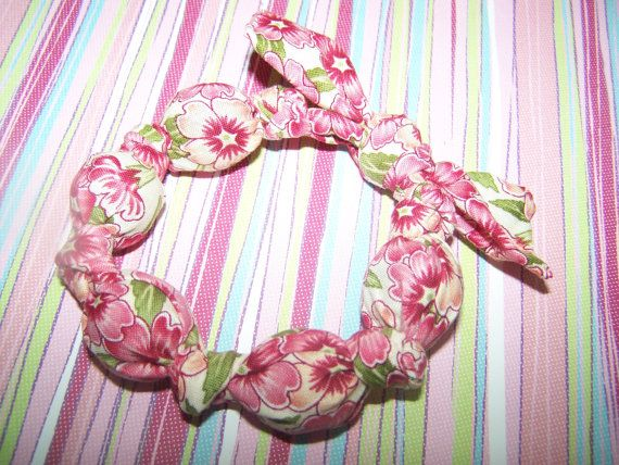 Shabby Chic Pink foral Fabric beaded bracelet for women and girls  $7.00