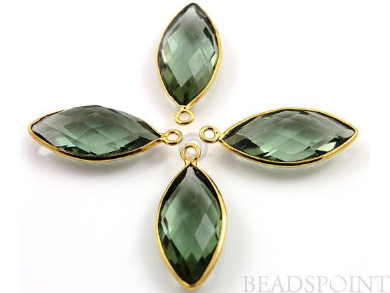 Natural Green Amethyst Bezel Marquise Shape Gemstone by Beadspoint, $8.99