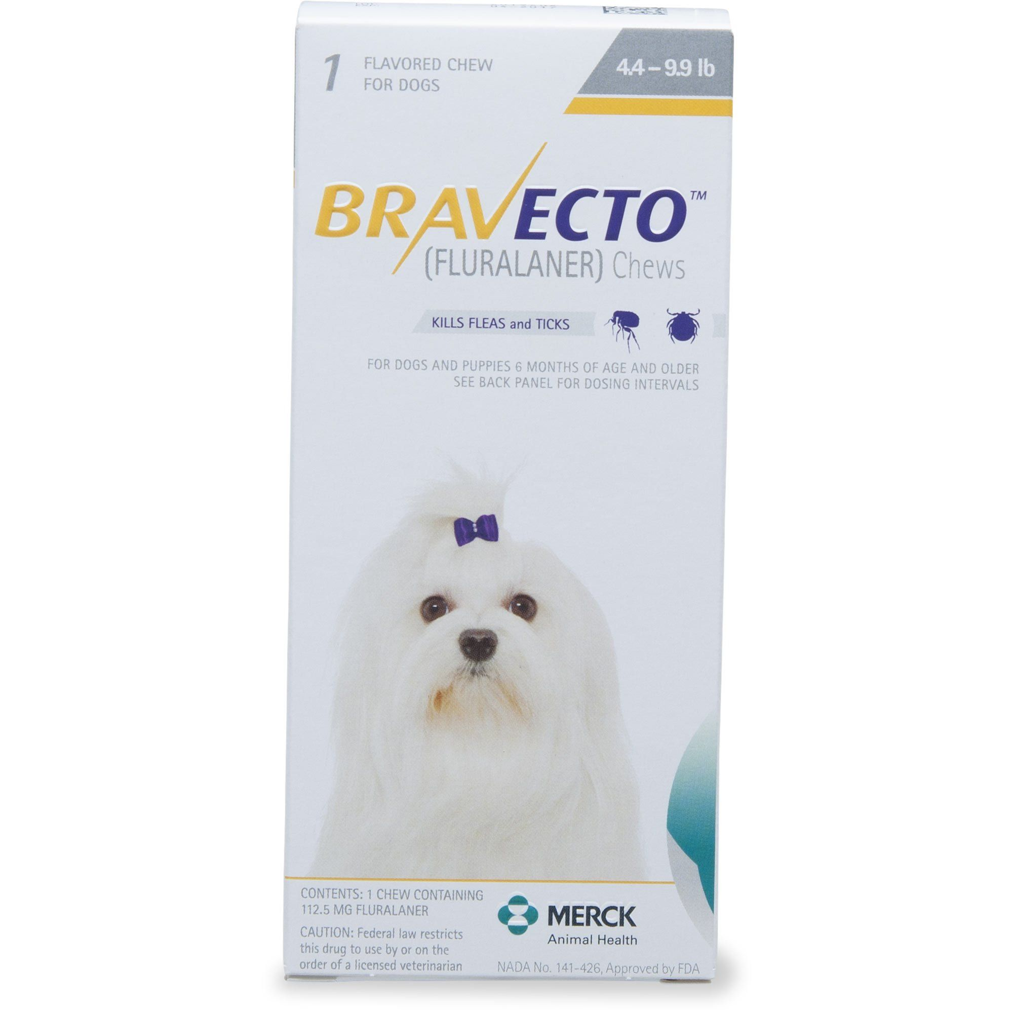 Bravecto Chews For Dogs 4 4 9 9 Lbs Single 12 Week Dose Brown