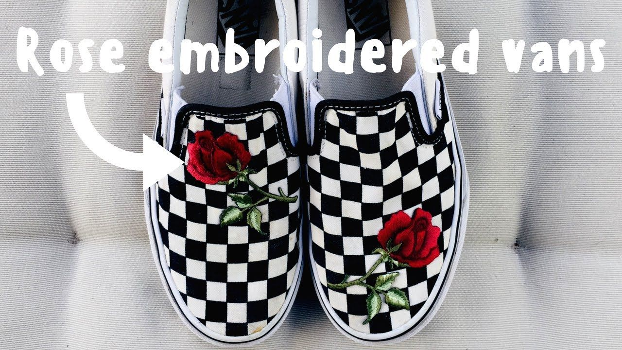 617250311e1f How to  DIY Rose Patch Vans - YouTube