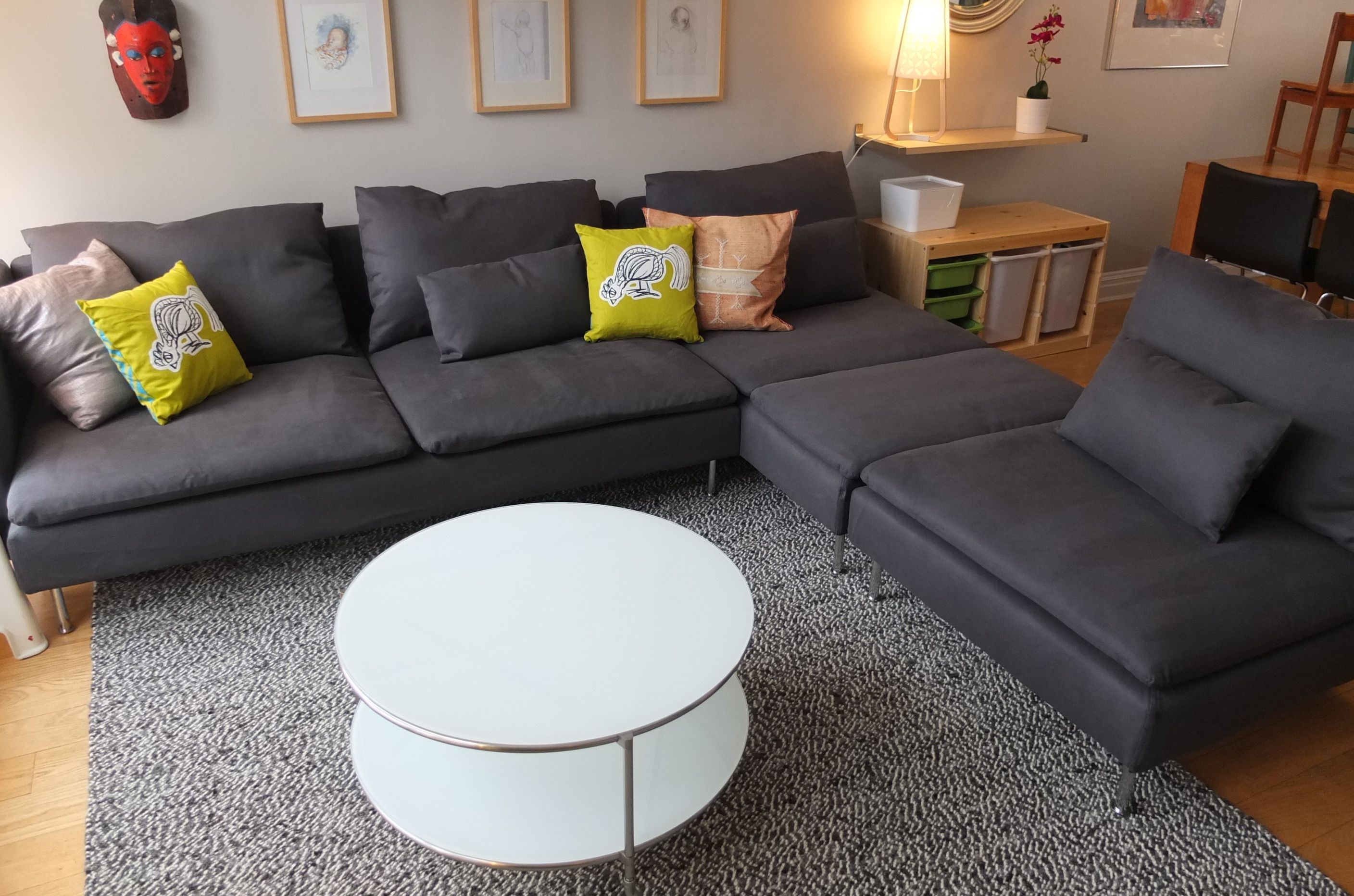 The small wheels on the ikea strind coffee table make it - Easy to move couch ...