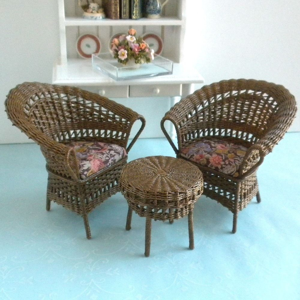 dollhouse outdoor furniture. Autumn Floral Wicker Chairs \u0026 Table 3 Pc. Dollhouse Miniature Patio Furniture Outdoor L