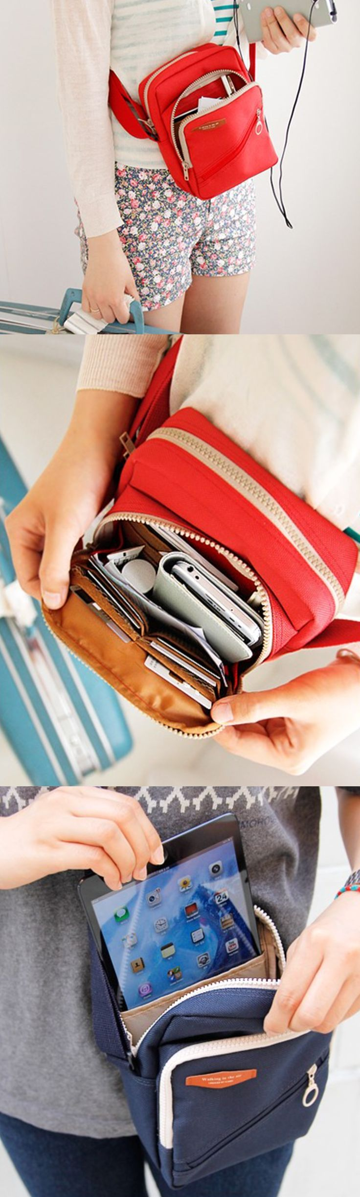 Keep all your tech safe and securely by your side on your travels! This bag is perfect for holding everything you'll need on the trip, from water bottles to phones to maps or journals. Now you just need the bus ticket! Book today with us at www.wanderu.com || #GoWanderu
