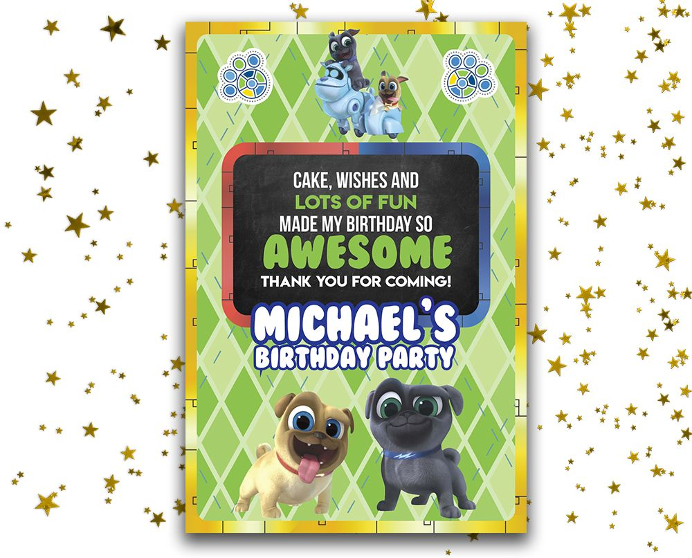 Puppy Dog Pals Birthday Card Puppy Dog Pals Thank You Card