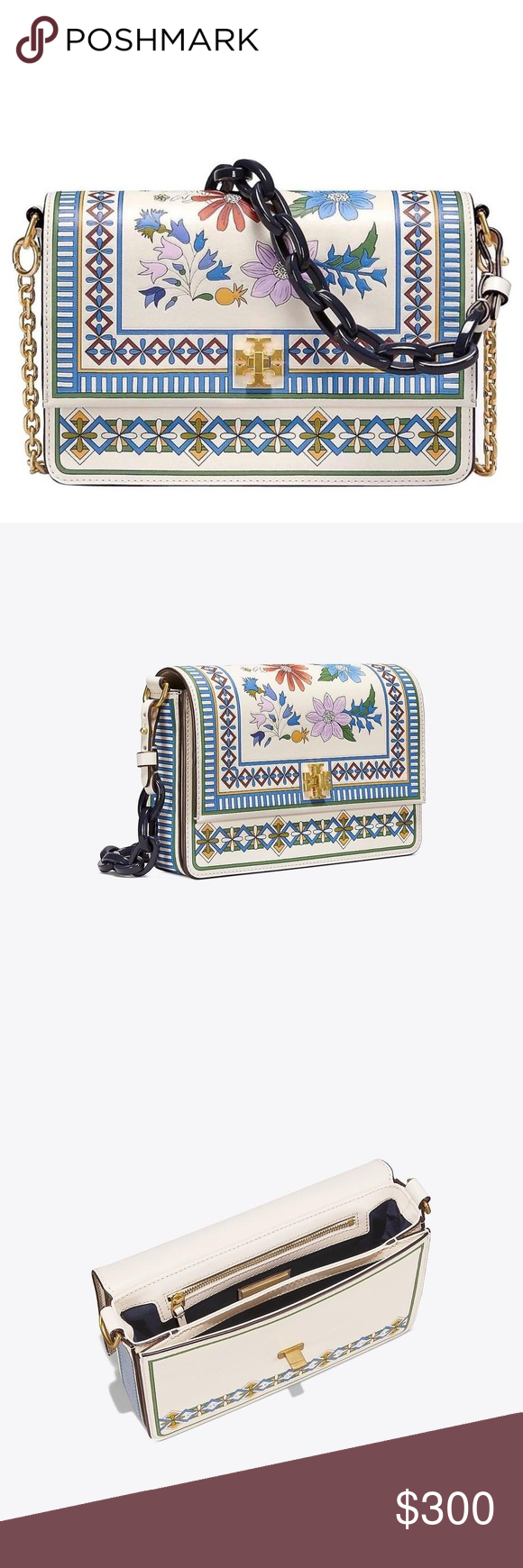 0c7f2c8612f Tory Burch Kira Floral Ivory Meadow Folly Bag Made of tooled