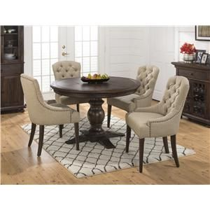 Jofran Geneva Hills Table And Upholstered Chair Set With Images Round Dining Table Sets Round Dining Room Round Dining Room Sets
