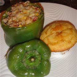 Feta and Turkey Stuffed Green Peppers Recipe #greenpeppers