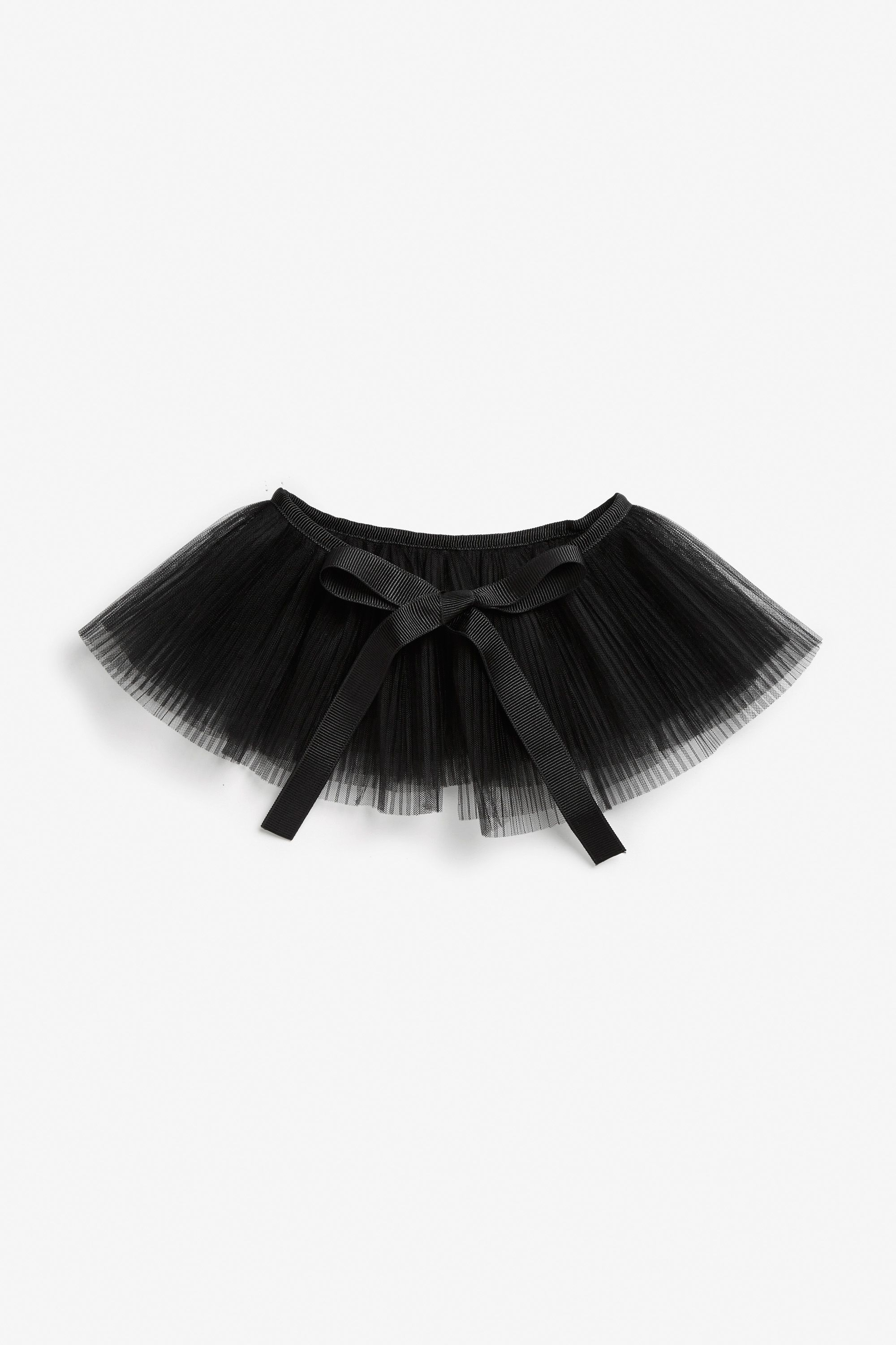 Borrow a little black from the goth trend with this black mesh collar with a simple ribbon tie.