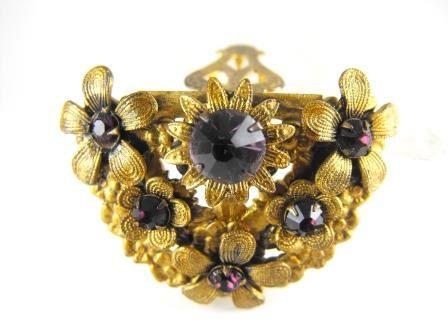 Art Nouveau Dress Clip Amethyst Glass Brass Floral by hipcricket, $40.00