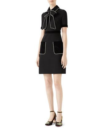 8e107c1fa Viscose+Jersey+Dress+with+Pearls+ +Crystals+by+Gucci+at+Neiman+Marcus.