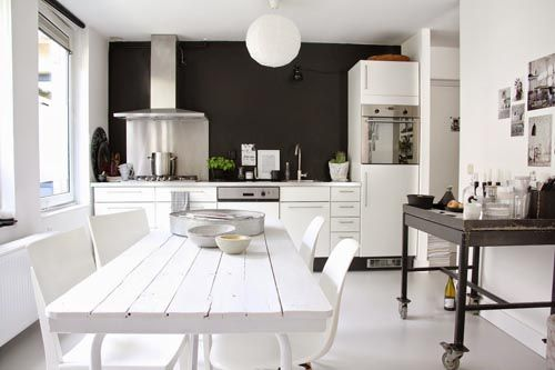 Cuisine-blanche-mur-noir.jpg (500×333) | house design | Pinterest ...