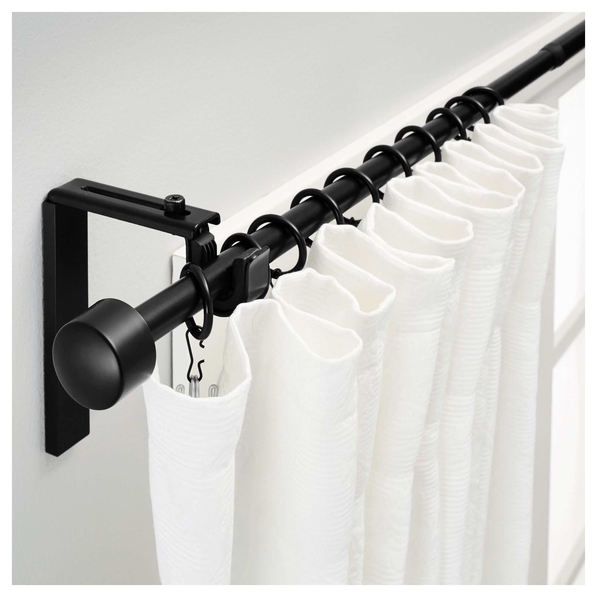 Racka Curtain Rod Combination Black Ikea Curtain Rods Black Shower Curtains Black Curtain Rods