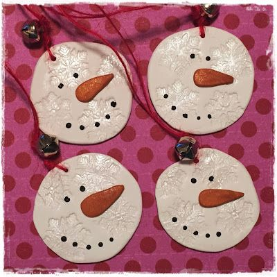 Polymer clay snowman holiday tags, ornaments, very easy