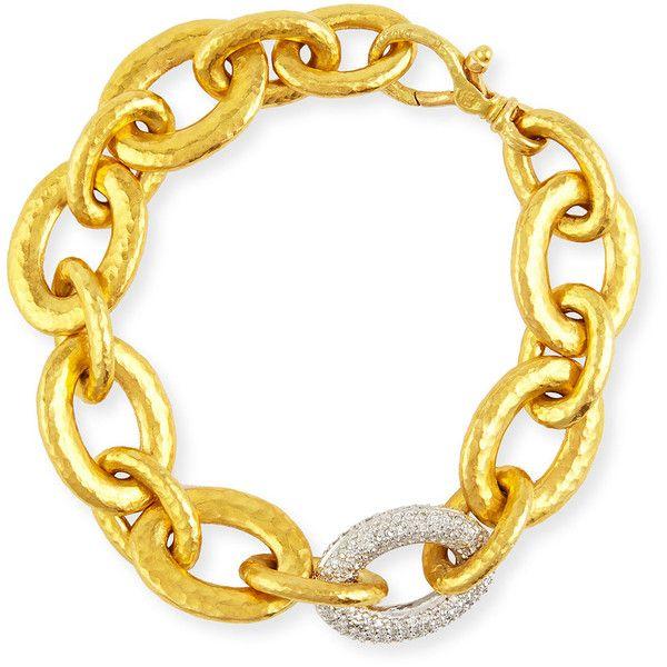 Gurhan 24k Galahad Link Bracelet with Diamonds (¥1,392,515) ❤ liked on Polyvore featuring jewelry, bracelets, hammered jewelry, 24 karat jewelry, gurhan jewelry, 24 karat gold jewelry and 18k bangle