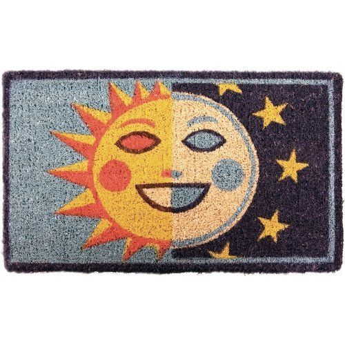 SunMoon Coir Mid Thickness 18x30 Doormat by BigKitchen. $21.20. Abrasive and effective. Hybrid face of sun and moon. Stenciled bleached coconut fiber. Half day, half night. Resists fading and running. Add some personality to the front door and put out this coir doormat. Half day and half night, a sun moon hybrid is stenciled in a fading and running resistant ink; the SoLuna, if you will. The coconut fiber construction is very abrasive and efficiently removes dirt from shoe...