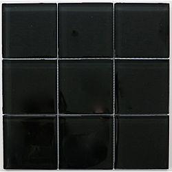 Lush 12x12 Inch Jet Black Glossy 4 Inch Glass Tiles Pack Of 10 Black Tiles Glass Tile Buy Tile