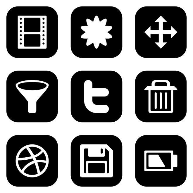 Browsing All Icon Sets Style Flat Rounded Square White On Black Icon Set Icon All Icon