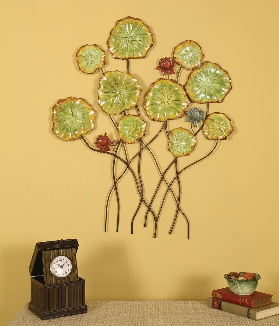 buy Pressed Metal Flowers Wall Decor (Green) (30\