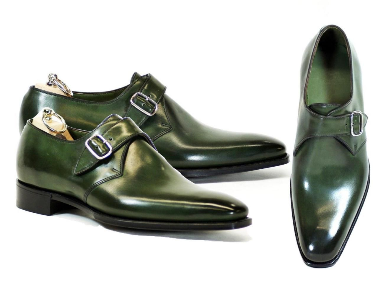 Handmade Monk Strap Green Leather Shoes Dress Business Latest