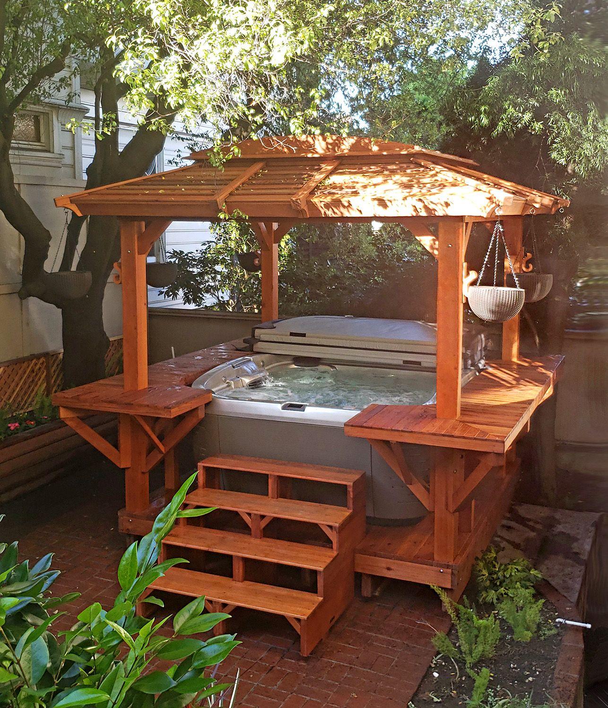 Hot Tub Enclosure Kits Hot Tub Pavilion Kit Made Of Redwood Hot Tub Gazebo Hot Tub Backyard Hot Tub Patio