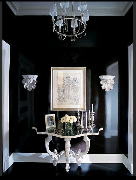 Design Inspiration Black Lacquer Ashlina Kaposta Black Painted Walls Black Walls Hallway Lacquered Walls