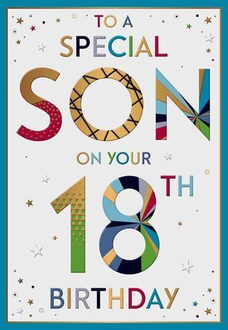 Son 18th Birthday Card Happy 18th Birthday Son Happy Birthday Wishes Cards 18th Birthday Cards