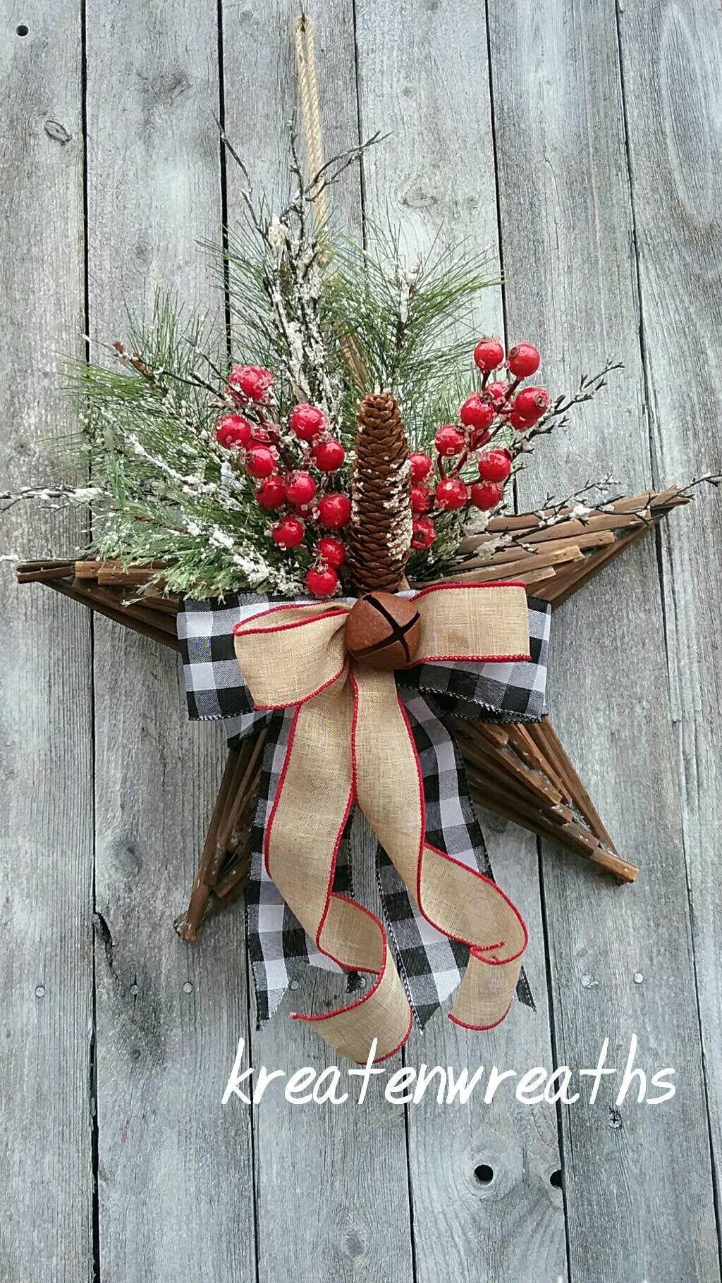 Rustic Christmas Tree Topper Star Hanger Wreath Christmas Star Decor Buffalo Check Farmhouse Christmas Wreath Rustic WoodenStar Decor Winter -   18 christmas tree topper diy star ideas