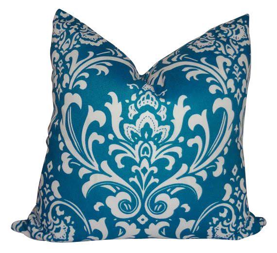 Teal Blue Damask Pillow is waterproof. Outdoor. Zipper closure. Size 18x18 #outdoor #beach #pillows #damask | StylishBeachHome.com