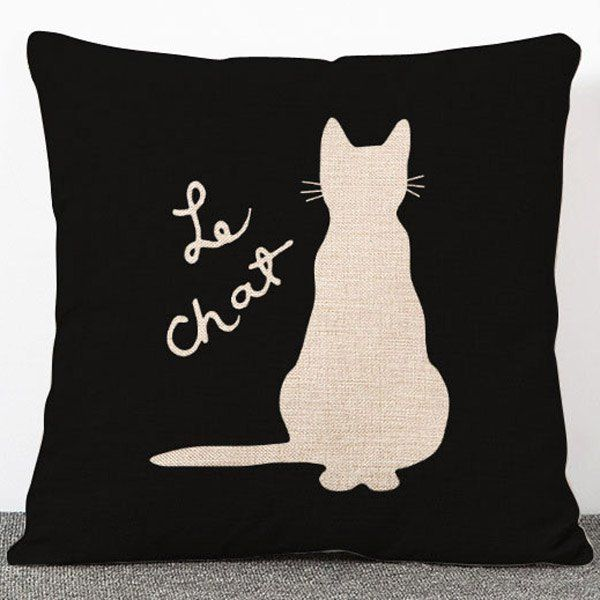 Fashion Animal Cat Pattern Flax Pillow Case(Without Pillow Inner)
