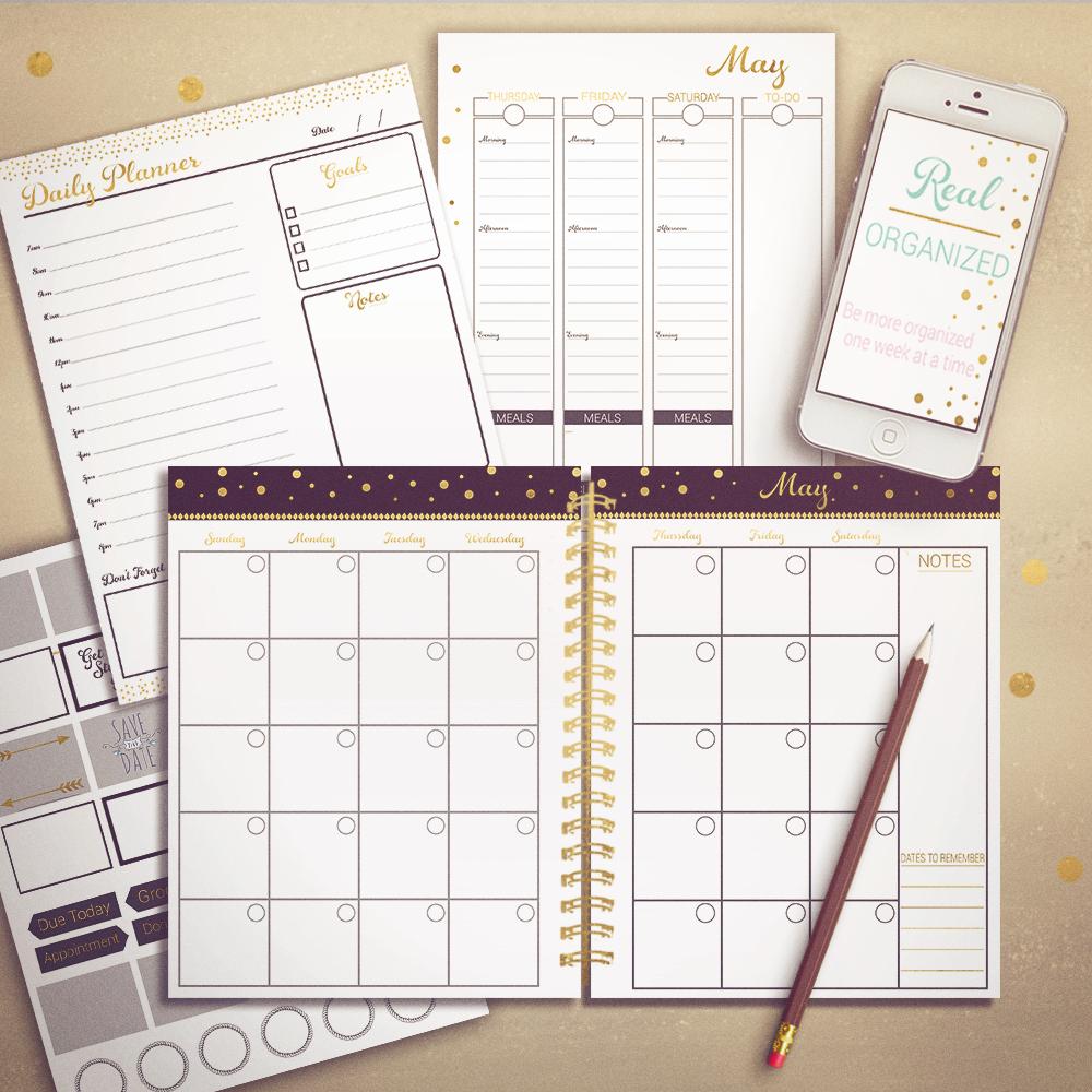 Real Organized Undated Printable Calendar