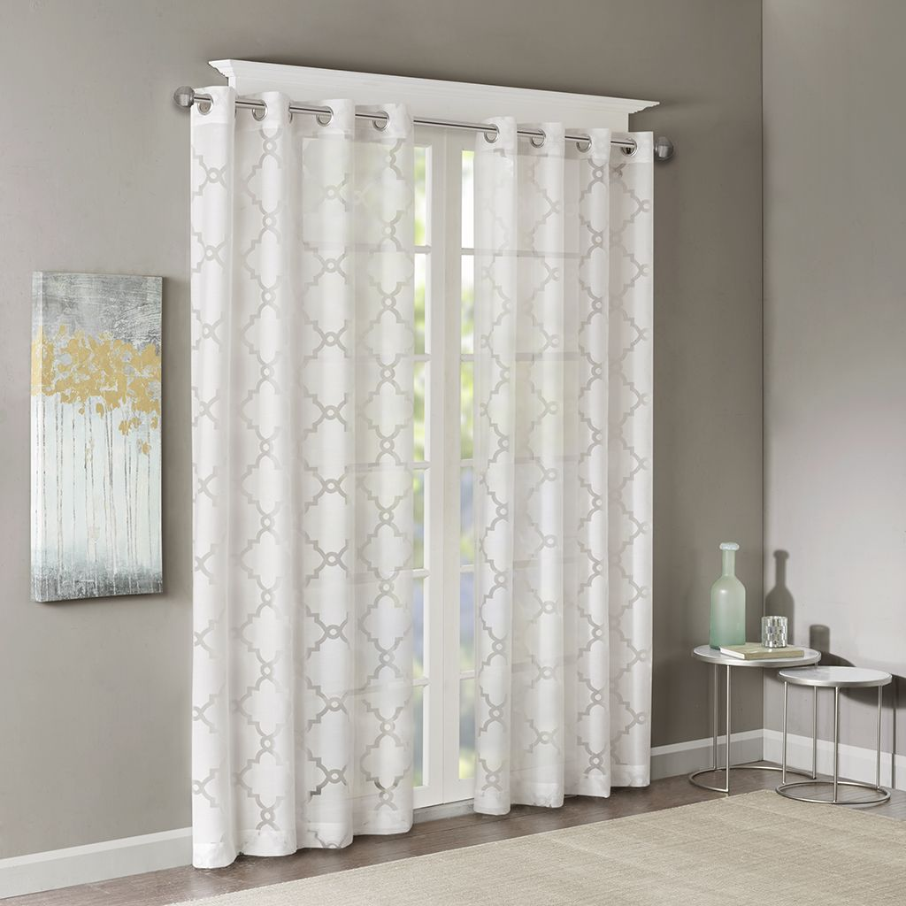 Designer sheer curtains - Stylish Yet Delicate The Madison Park Eden Fretwork Sheer Curtain Will Update And Soften Any